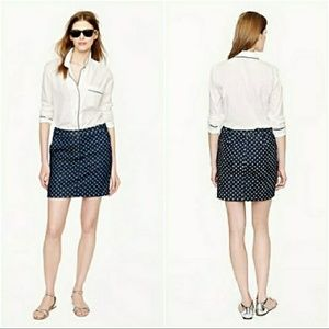 J. Crew Postcard Polka Dot Denim Mini Skirt